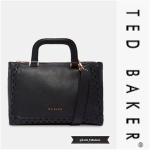 NWT TED BAKER BLACK PEBBLED LEATHER OVERSIZE TOTE